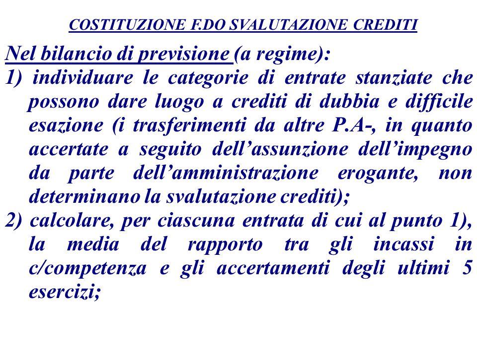 Nel bilancio di previsione (a regime): 1) individuare le categorie di entrate stanziate che possono dare luogo a crediti di dubbia e difficile esazion