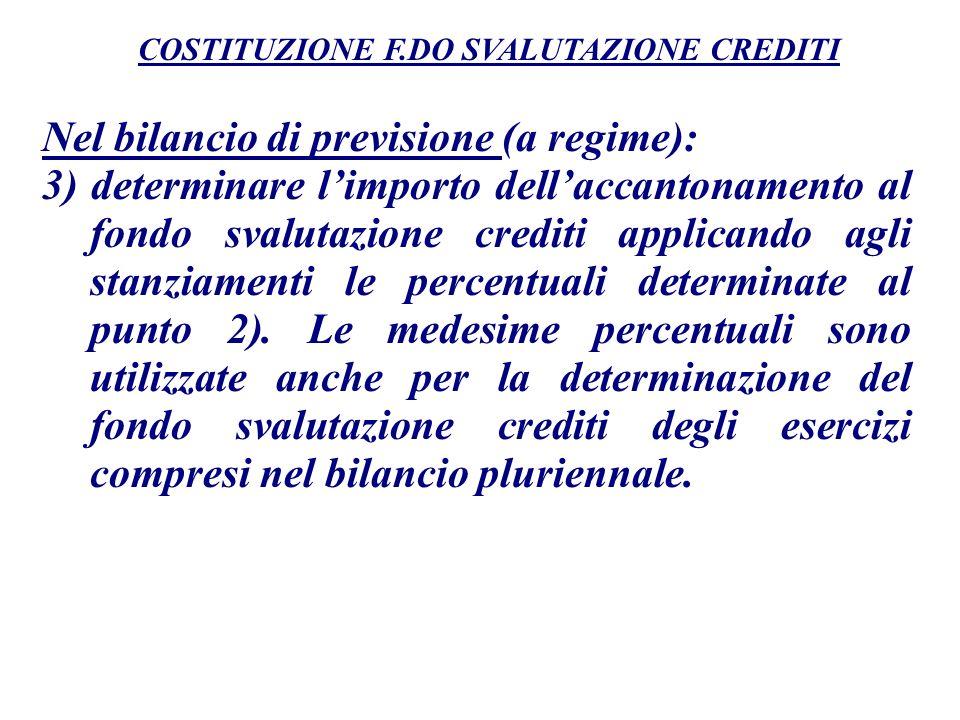 Nel bilancio di previsione (a regime): 3) determinare limporto dellaccantonamento al fondo svalutazione crediti applicando agli stanziamenti le percen