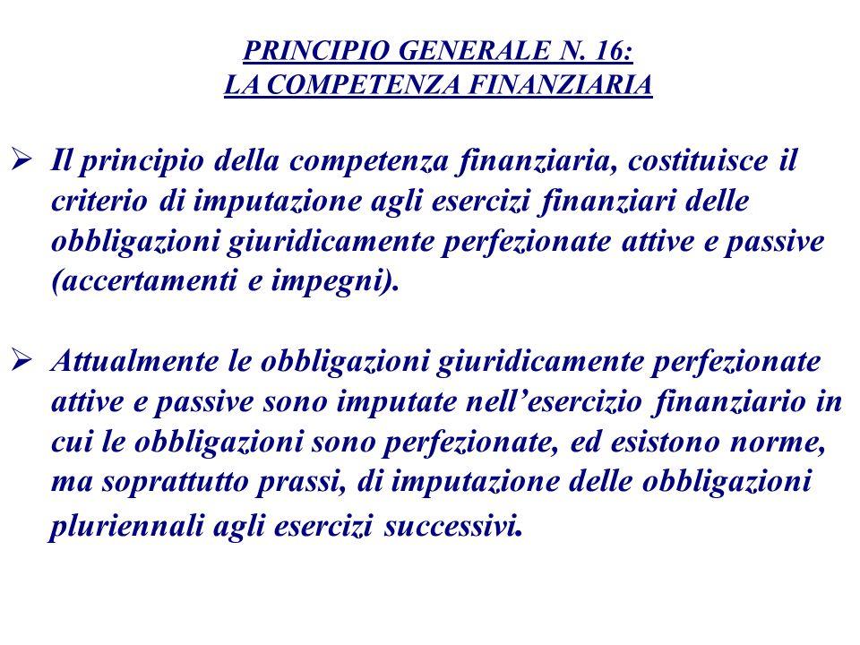 Il principio della competenza finanziaria, costituisce il criterio di imputazione agli esercizi finanziari delle obbligazioni giuridicamente perfezion