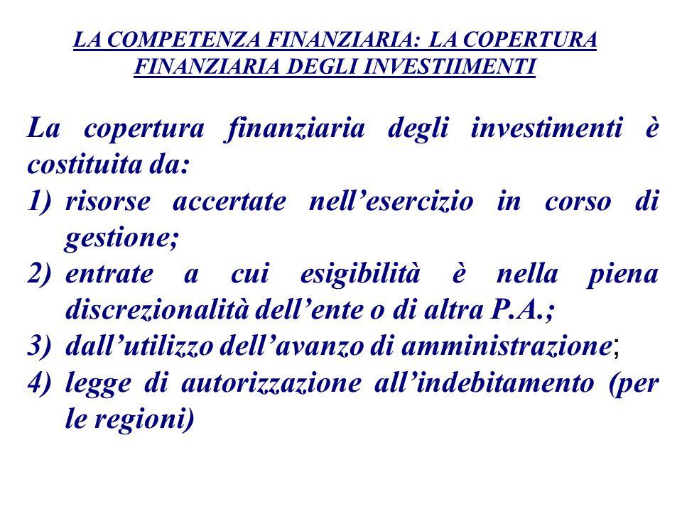 La copertura finanziaria degli investimenti è costituita da: 1)risorse accertate nellesercizio in corso di gestione; 2)entrate a cui esigibilità è nel