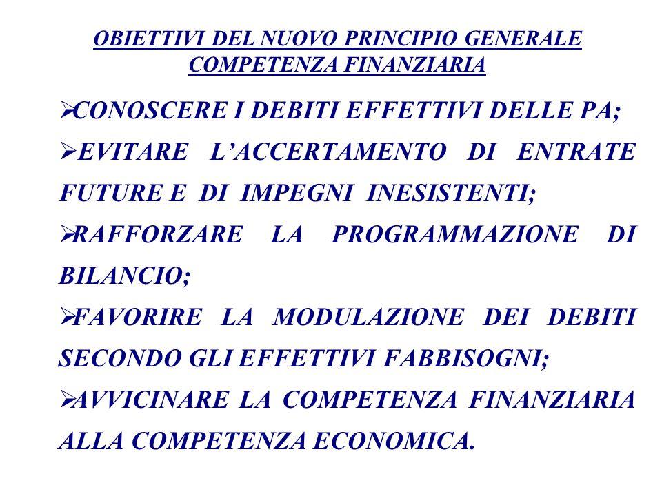 Il principio di competenza finanziaria potenziata costituisce uno degli obiettivi della sperimentazione prevista dallart.