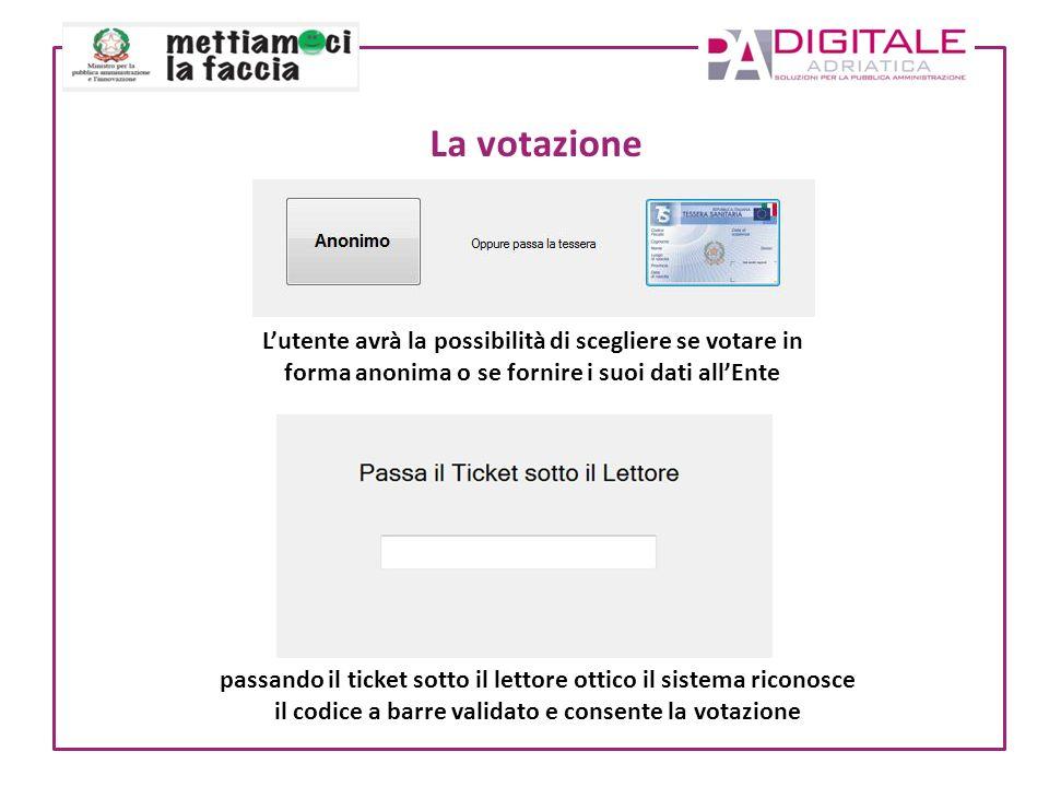 La votazione Lutente avrà la possibilità di scegliere se votare in forma anonima o se fornire i suoi dati allEnte passando il ticket sotto il lettore ottico il sistema riconosce il codice a barre validato e consente la votazione