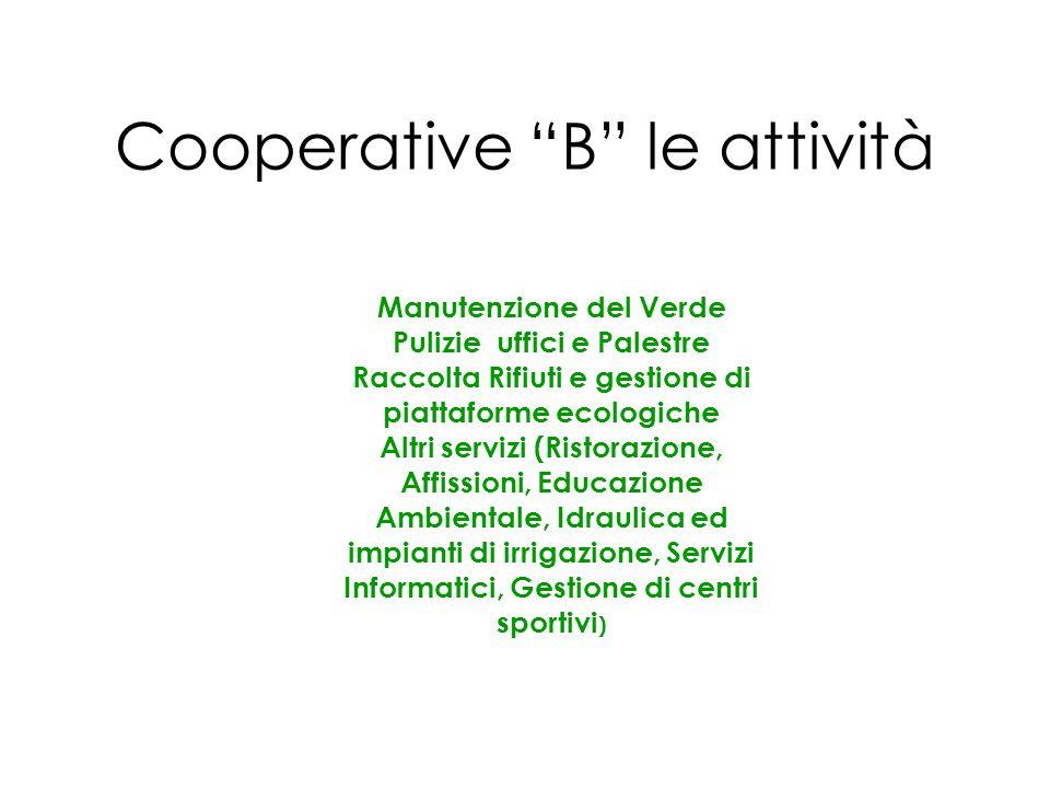 Cooperative B le attività Manutenzione del Verde Pulizie uffici e Palestre Raccolta Rifiuti e gestione di piattaforme ecologiche Altri servizi (Ristor