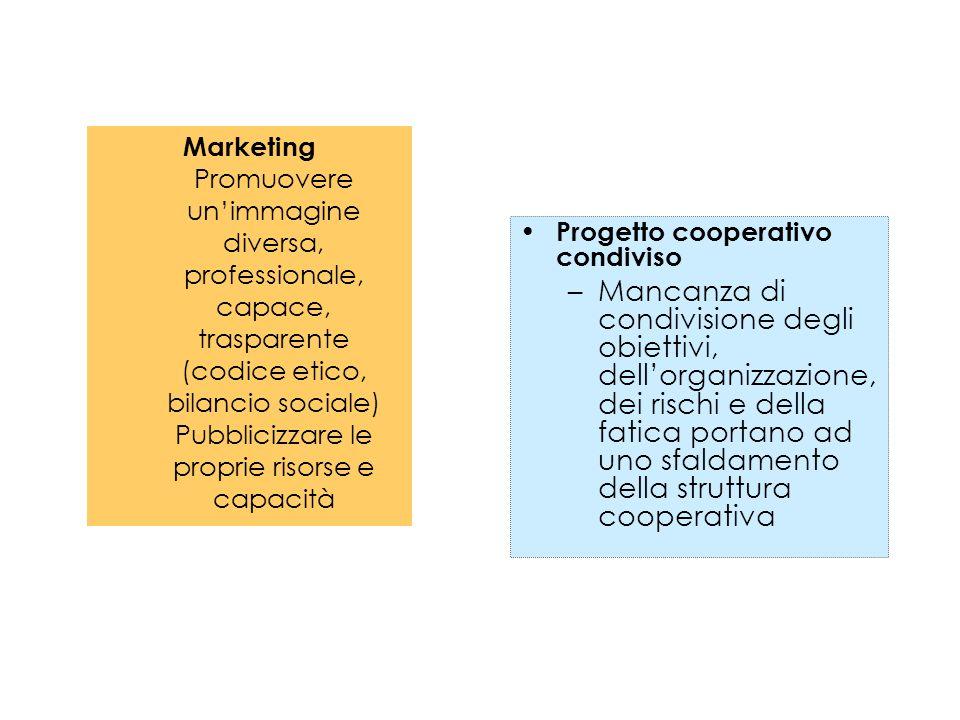Marketing Promuovere unimmagine diversa, professionale, capace, trasparente (codice etico, bilancio sociale) Pubblicizzare le proprie risorse e capaci