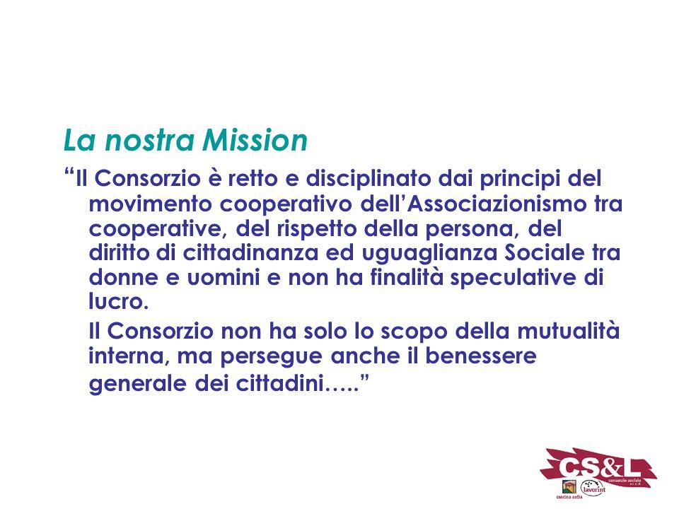 La nostra Mission Il Consorzio è retto e disciplinato dai principi del movimento cooperativo dellAssociazionismo tra cooperative, del rispetto della persona, del diritto di cittadinanza ed uguaglianza Sociale tra donne e uomini e non ha finalità speculative di lucro.