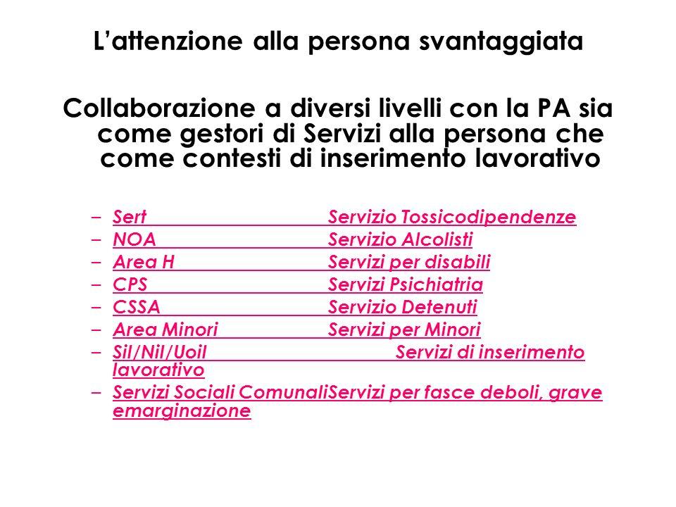 Lattenzione alla persona svantaggiata Collaborazione a diversi livelli con la PA sia come gestori di Servizi alla persona che come contesti di inserim