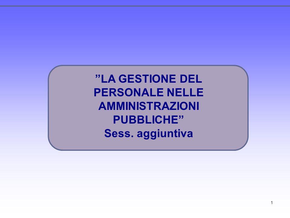 1 LA GESTIONE DEL PERSONALE NELLE AMMINISTRAZIONI PUBBLICHE Sess. aggiuntiva