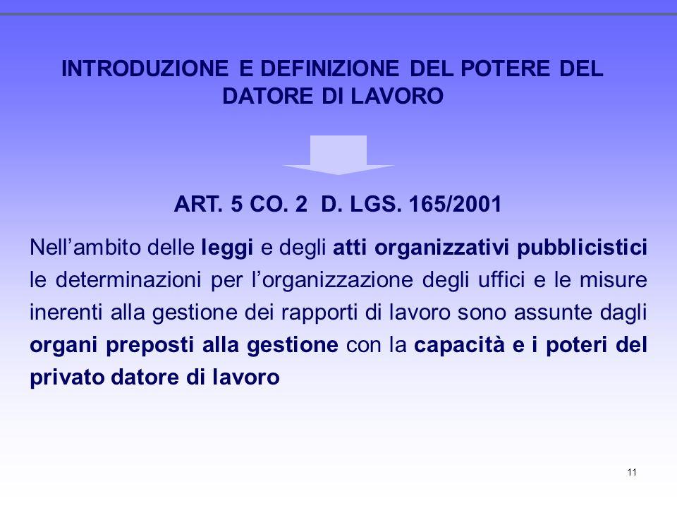 11 INTRODUZIONE E DEFINIZIONE DEL POTERE DEL DATORE DI LAVORO ART. 5 CO. 2 D. LGS. 165/2001 Nellambito delle leggi e degli atti organizzativi pubblici