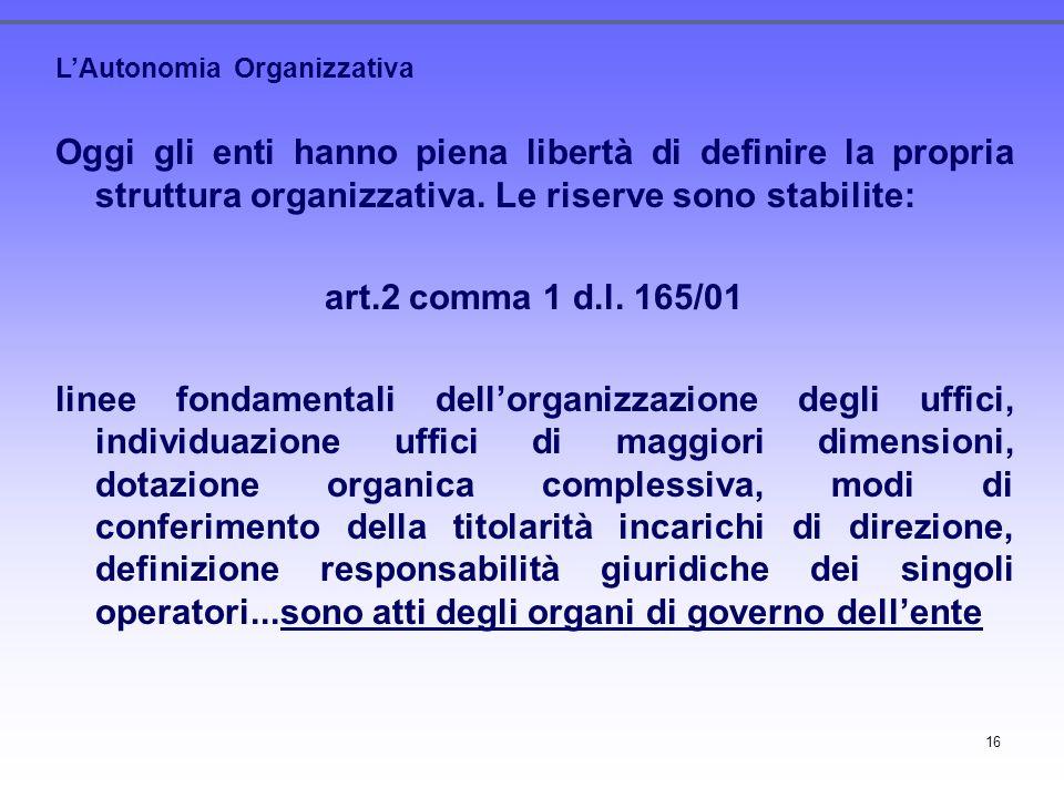 16 LAutonomia Organizzativa Oggi gli enti hanno piena libertà di definire la propria struttura organizzativa. Le riserve sono stabilite: art.2 comma 1