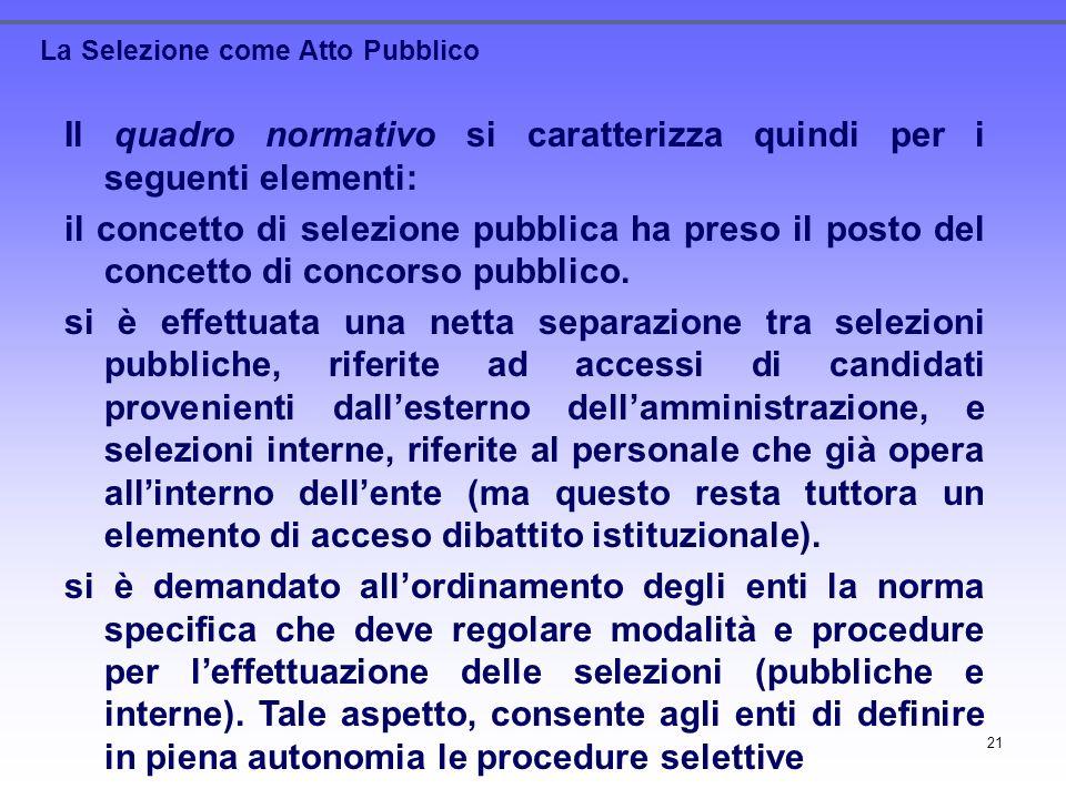 21 La Selezione come Atto Pubblico Il quadro normativo si caratterizza quindi per i seguenti elementi: il concetto di selezione pubblica ha preso il p