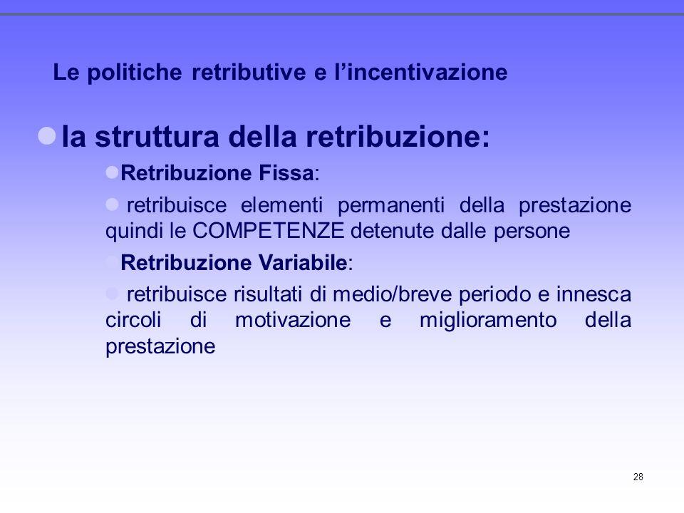 28 Le politiche retributive e lincentivazione la struttura della retribuzione: Retribuzione Fissa: retribuisce elementi permanenti della prestazione q