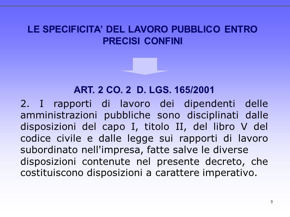 9 LE SPECIFICITA DEL LAVORO PUBBLICO ENTRO PRECISI CONFINI ART. 2 CO. 2 D. LGS. 165/2001 2. I rapporti di lavoro dei dipendenti delle amministrazioni