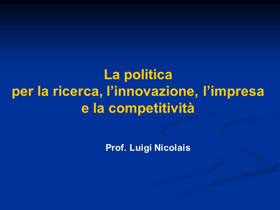 La politica per la ricerca, linnovazione, limpresa e la competitività Prof. Luigi Nicolais
