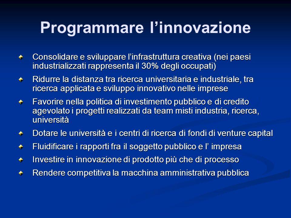 Programmare linnovazione Consolidare e sviluppare linfrastruttura creativa (nei paesi industrializzati rappresenta il 30% degli occupati) Ridurre la d