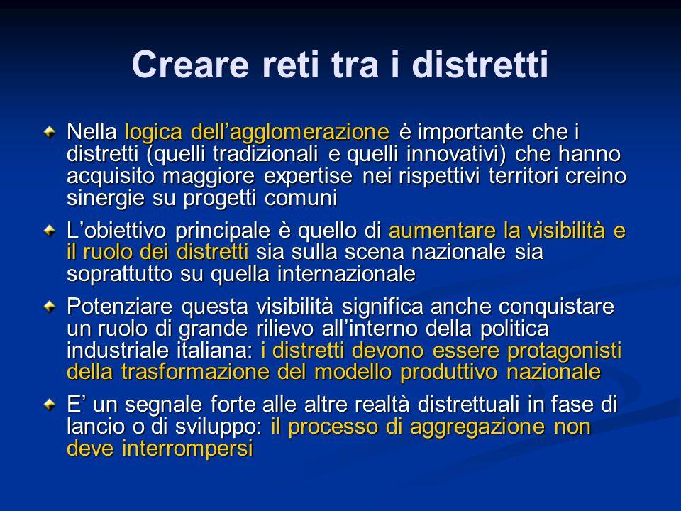 Creare reti tra i distretti Nella logica dellagglomerazione è importante che i distretti (quelli tradizionali e quelli innovativi) che hanno acquisito