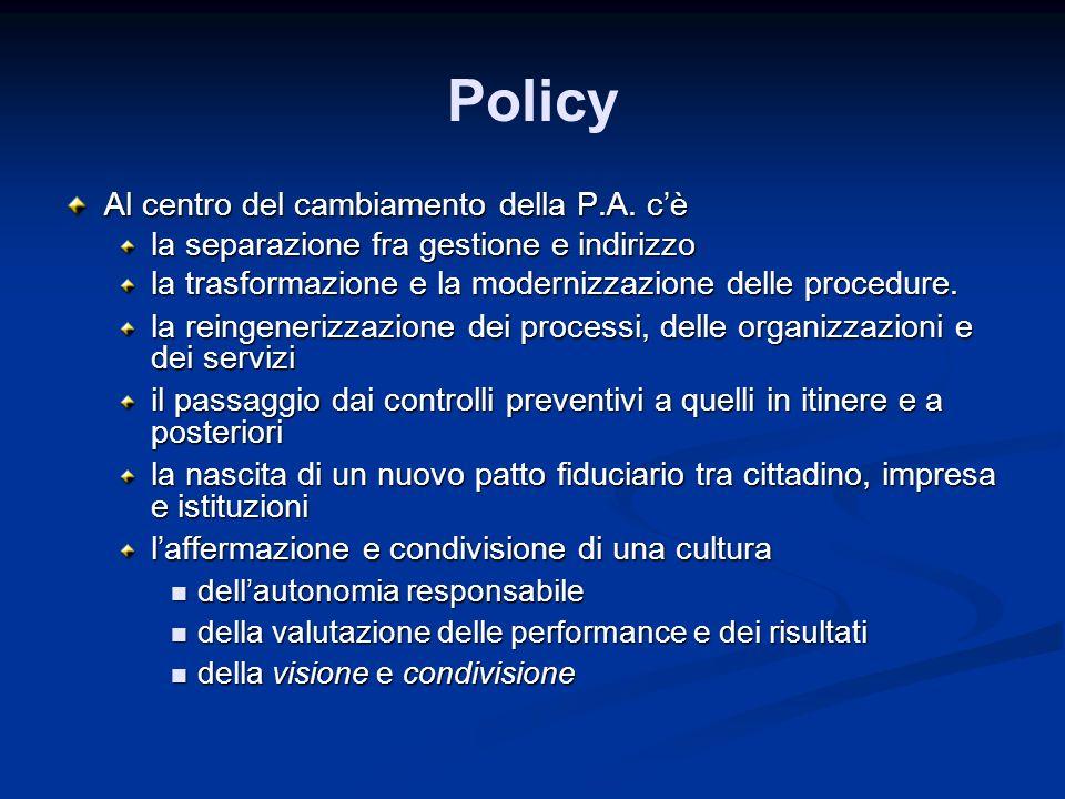 Policy Al centro del cambiamento della P.A. cè la separazione fra gestione e indirizzo la trasformazione e la modernizzazione delle procedure. la rein