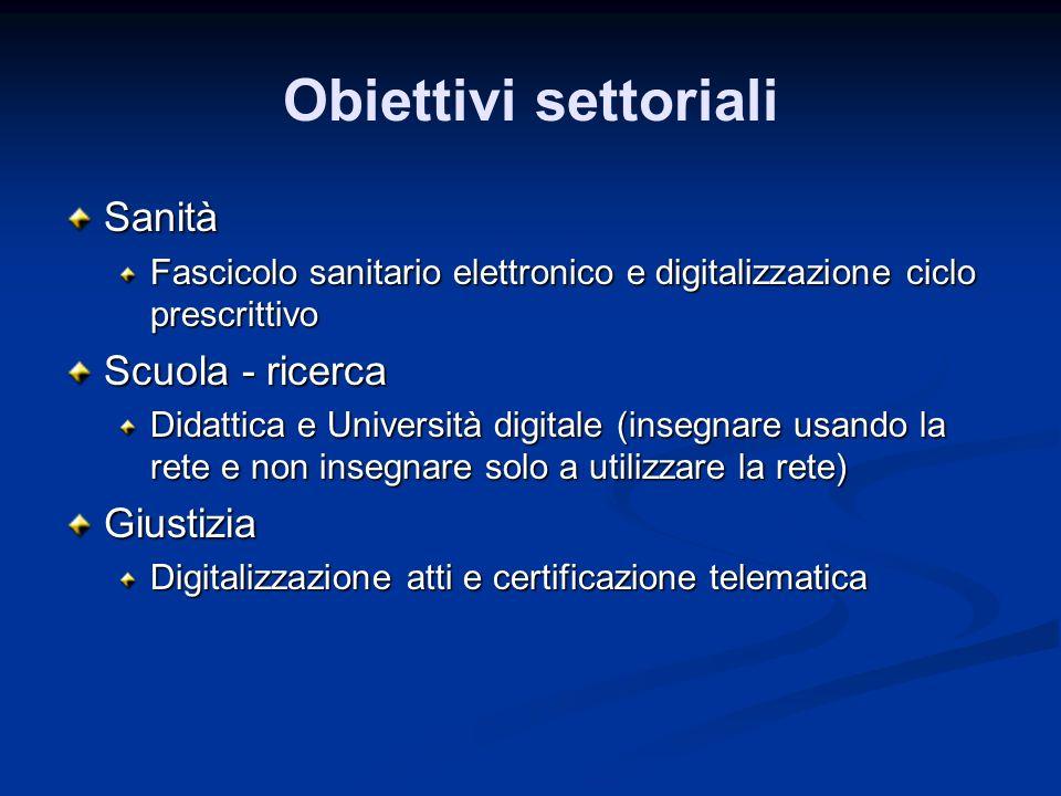Obiettivi settoriali Sanità Fascicolo sanitario elettronico e digitalizzazione ciclo prescrittivo Scuola - ricerca Didattica e Università digitale (in