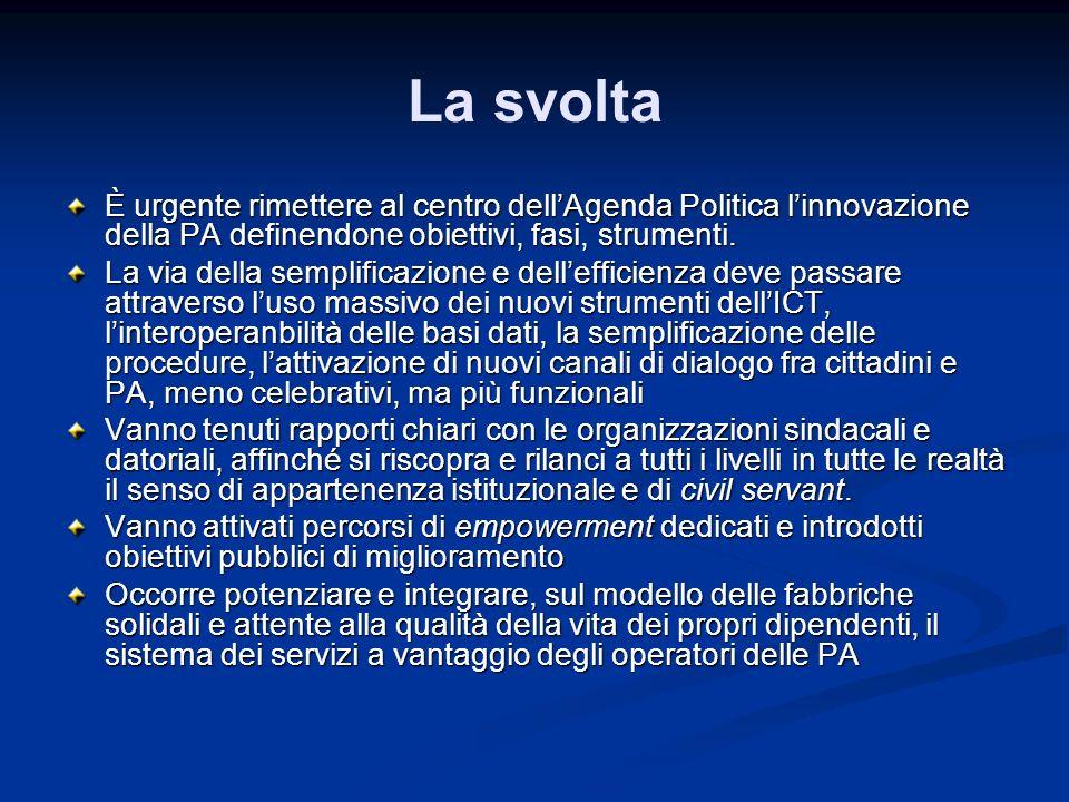 La svolta È urgente rimettere al centro dellAgenda Politica linnovazione della PA definendone obiettivi, fasi, strumenti. La via della semplificazione