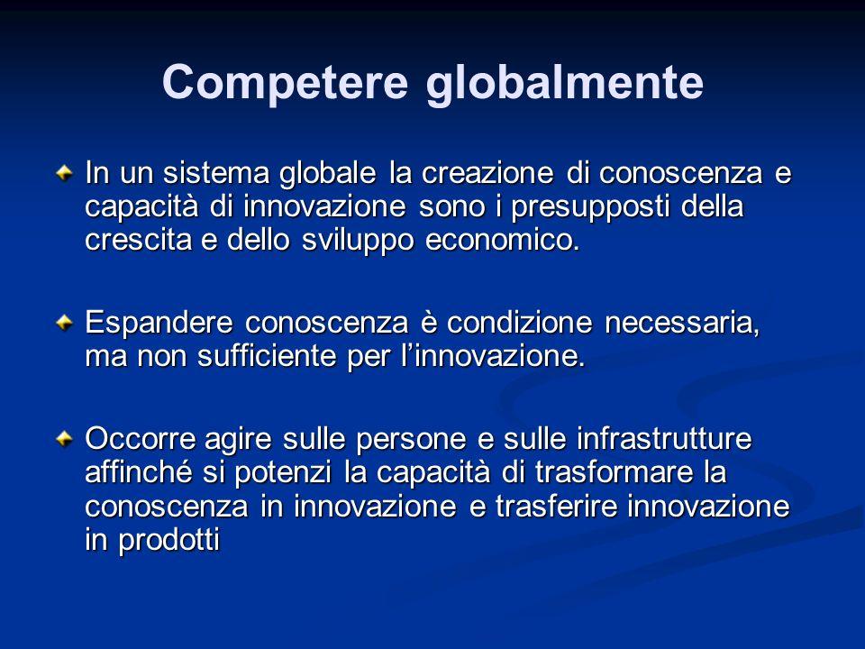 Competere globalmente In un sistema globale la creazione di conoscenza e capacità di innovazione sono i presupposti della crescita e dello sviluppo ec