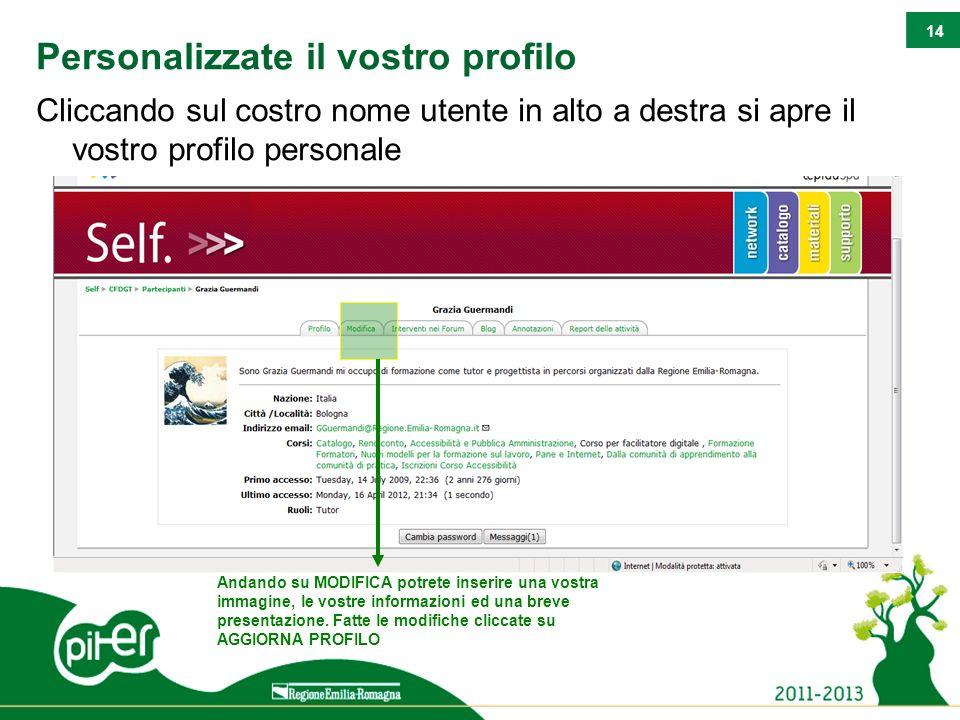 14 Personalizzate il vostro profilo Cliccando sul costro nome utente in alto a destra si apre il vostro profilo personale Andando su MODIFICA potrete