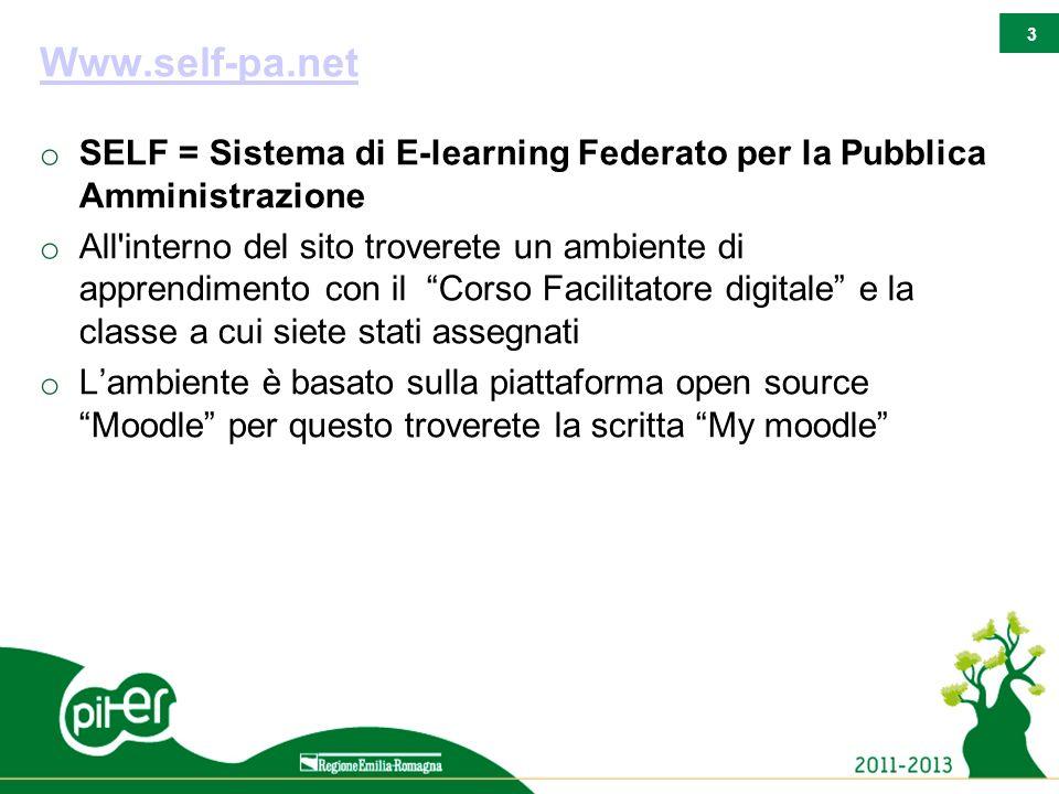 3 Www.self-pa.net o SELF = Sistema di E-learning Federato per la Pubblica Amministrazione o All'interno del sito troverete un ambiente di apprendiment