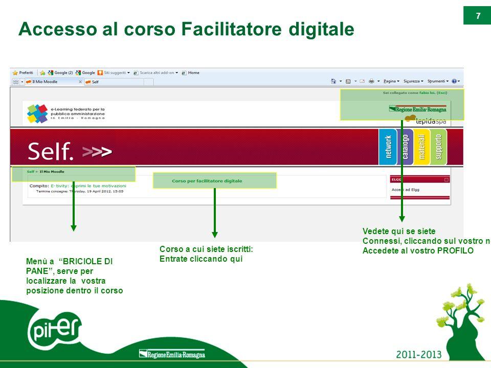 7 Accesso al corso Facilitatore digitale Menù a BRICIOLE DI PANE, serve per localizzare la vostra posizione dentro il corso Corso a cui siete iscritti