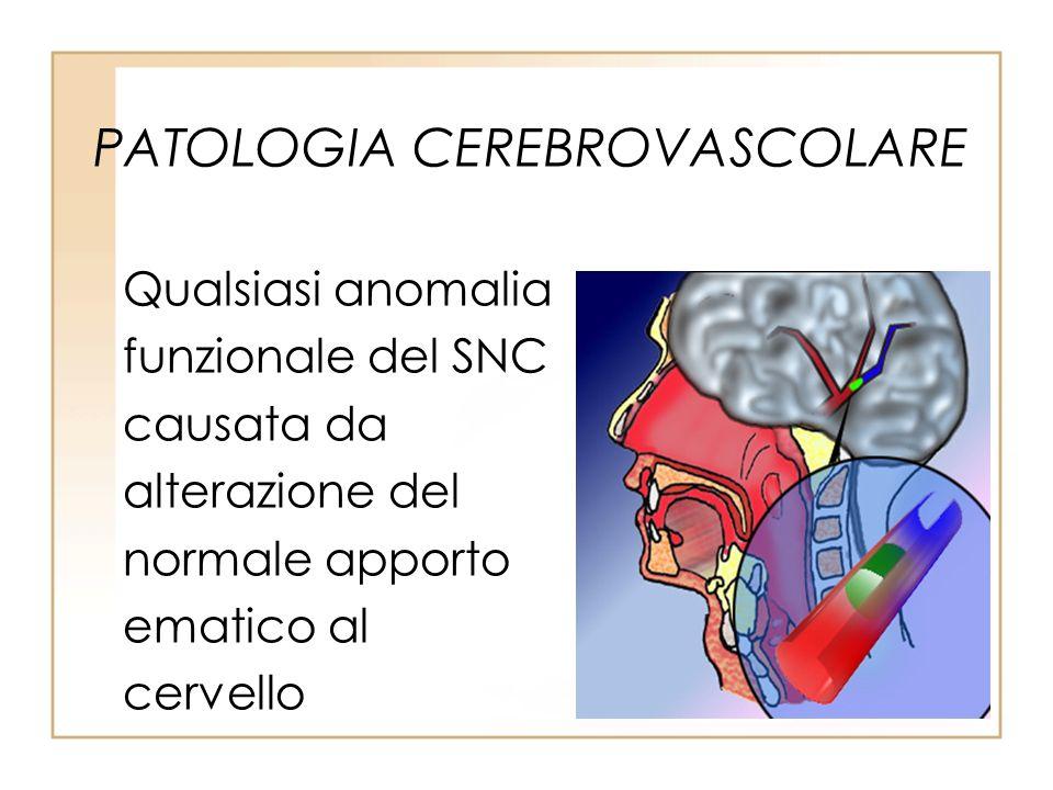 PATOLOGIA CEREBROVASCOLARE Qualsiasi anomalia funzionale del SNC causata da alterazione del normale apporto ematico al cervello