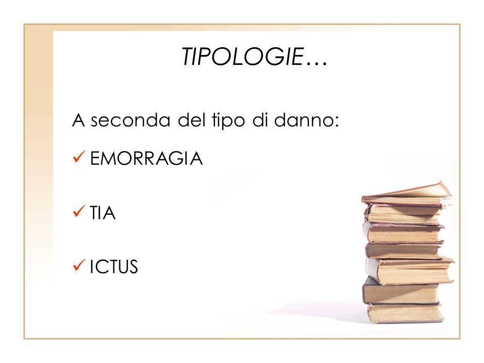 TIPOLOGIE… A seconda del tipo di danno: EMORRAGIA TIA ICTUS