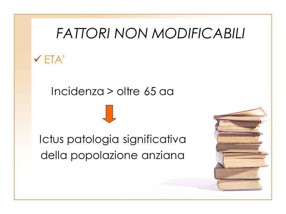 FATTORI NON MODIFICABILI ETA Incidenza > oltre 65 aa Ictus patologia significativa della popolazione anziana