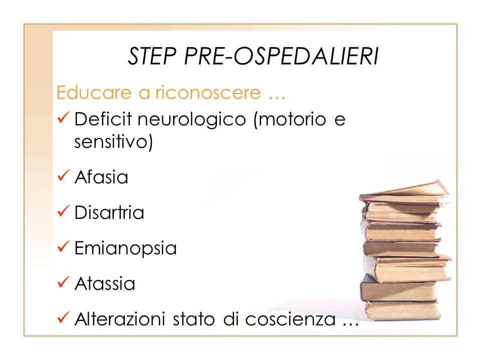 STEP PRE-OSPEDALIERI Educare a riconoscere … Deficit neurologico (motorio e sensitivo) Afasia Disartria Emianopsia Atassia Alterazioni stato di coscie