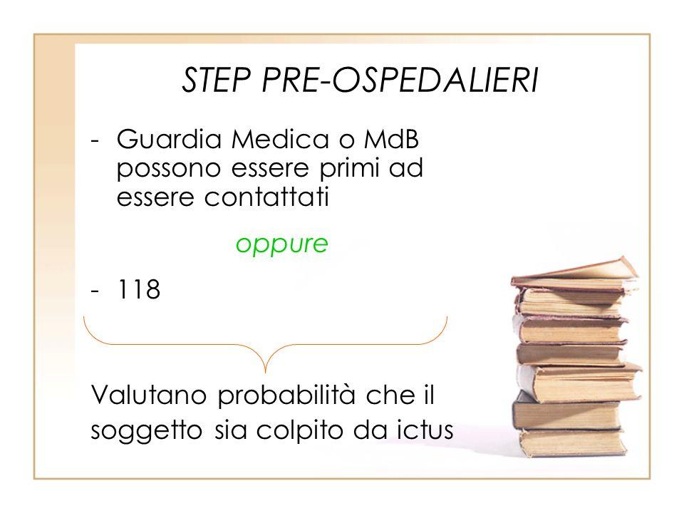 STEP PRE-OSPEDALIERI -Guardia Medica o MdB possono essere primi ad essere contattati oppure -118 Valutano probabilità che il soggetto sia colpito da i