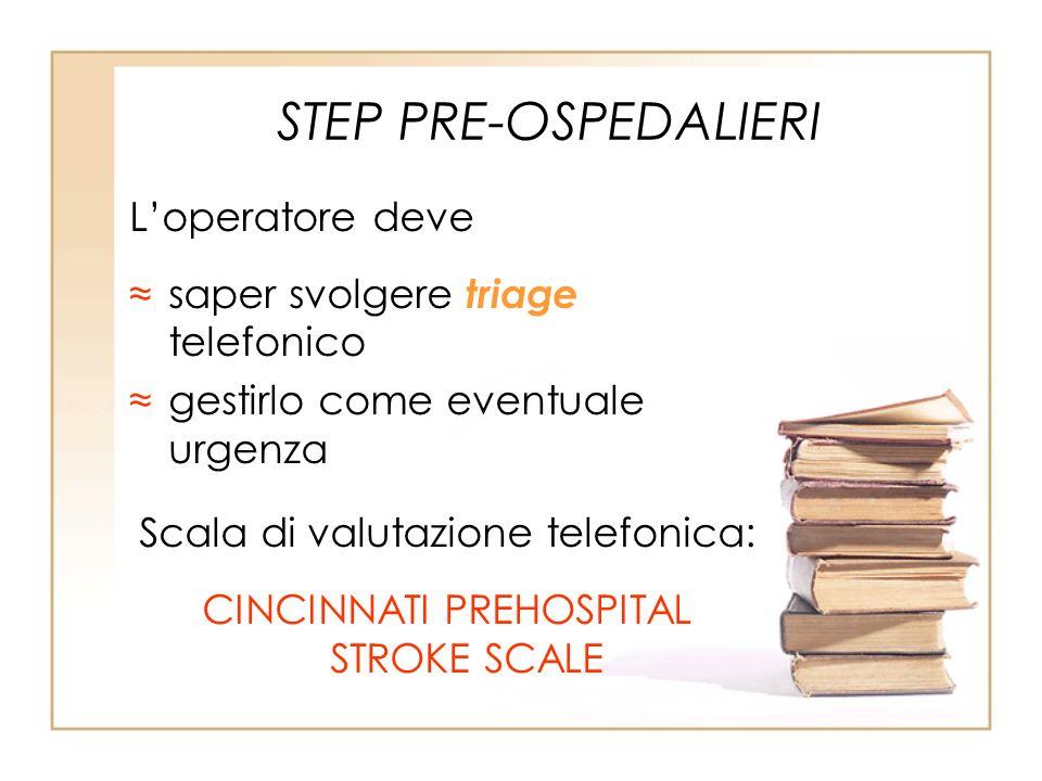 STEP PRE-OSPEDALIERI Loperatore deve saper svolgere triage telefonico gestirlo come eventuale urgenza Scala di valutazione telefonica: CINCINNATI PREH