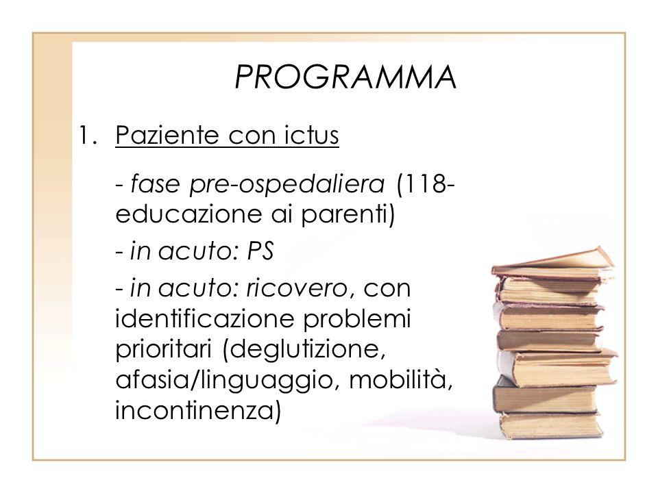 PROGRAMMA 1.Paziente con ictus - fase pre-ospedaliera (118- educazione ai parenti) - in acuto: PS - in acuto: ricovero, con identificazione problemi p