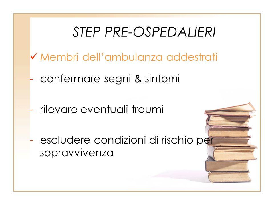 STEP PRE-OSPEDALIERI Membri dellambulanza addestrati -confermare segni & sintomi -rilevare eventuali traumi -escludere condizioni di rischio per sopra