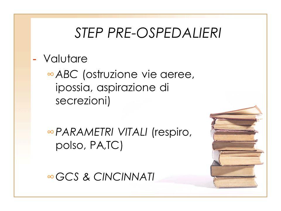 STEP PRE-OSPEDALIERI - Valutare ABC (ostruzione vie aeree, ipossia, aspirazione di secrezioni) PARAMETRI VITALI (respiro, polso, PA,TC) GCS & CINCINNA