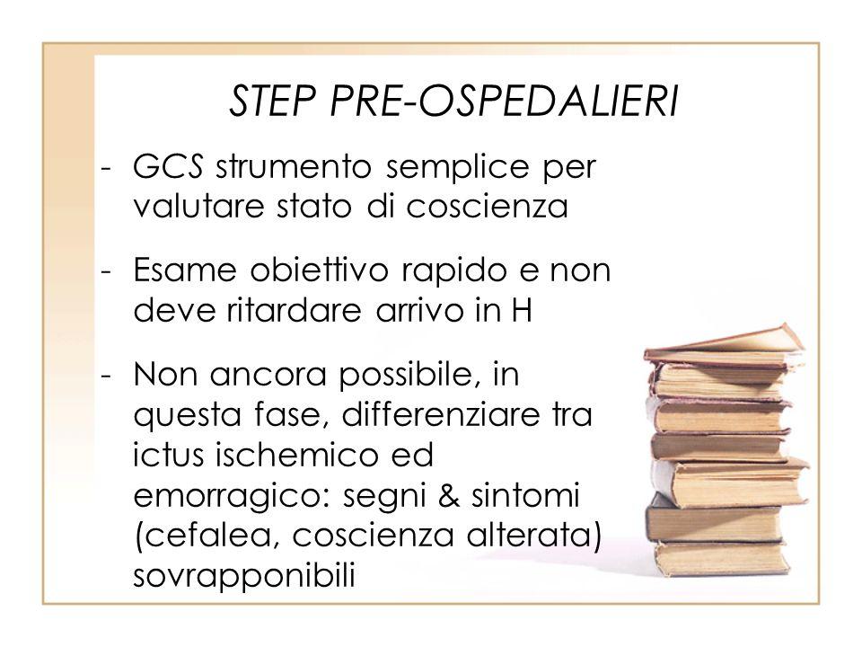 STEP PRE-OSPEDALIERI -GCS strumento semplice per valutare stato di coscienza -Esame obiettivo rapido e non deve ritardare arrivo in H -Non ancora poss