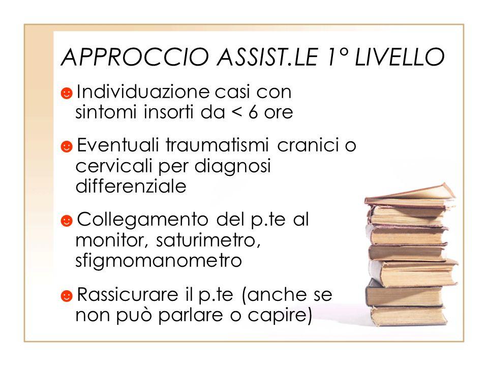 APPROCCIO ASSIST.LE 1° LIVELLO Individuazione casi con sintomi insorti da < 6 ore Eventuali traumatismi cranici o cervicali per diagnosi differenziale