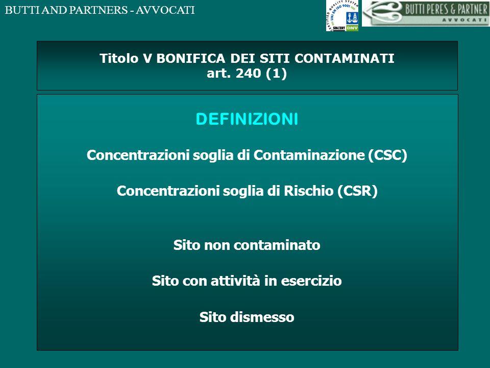 BUTTI AND PARTNERS - AVVOCATI Titolo V BONIFICA DEI SITI CONTAMINATI art. 240 (1) DEFINIZIONI Concentrazioni soglia di Contaminazione (CSC) Concentraz
