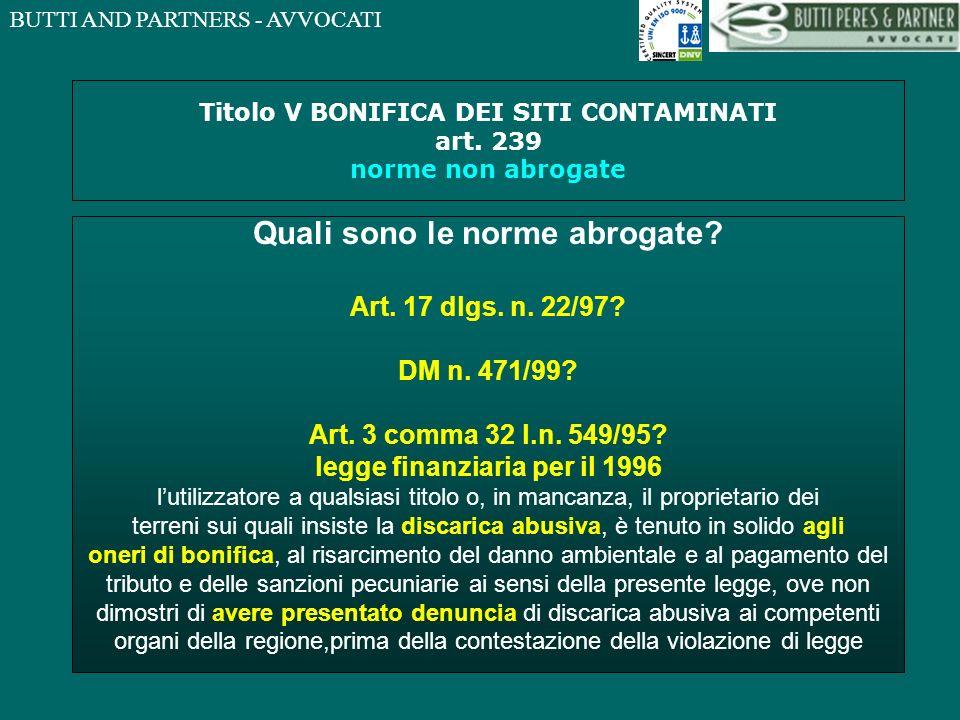BUTTI AND PARTNERS - AVVOCATI Titolo V BONIFICA DEI SITI CONTAMINATI art.
