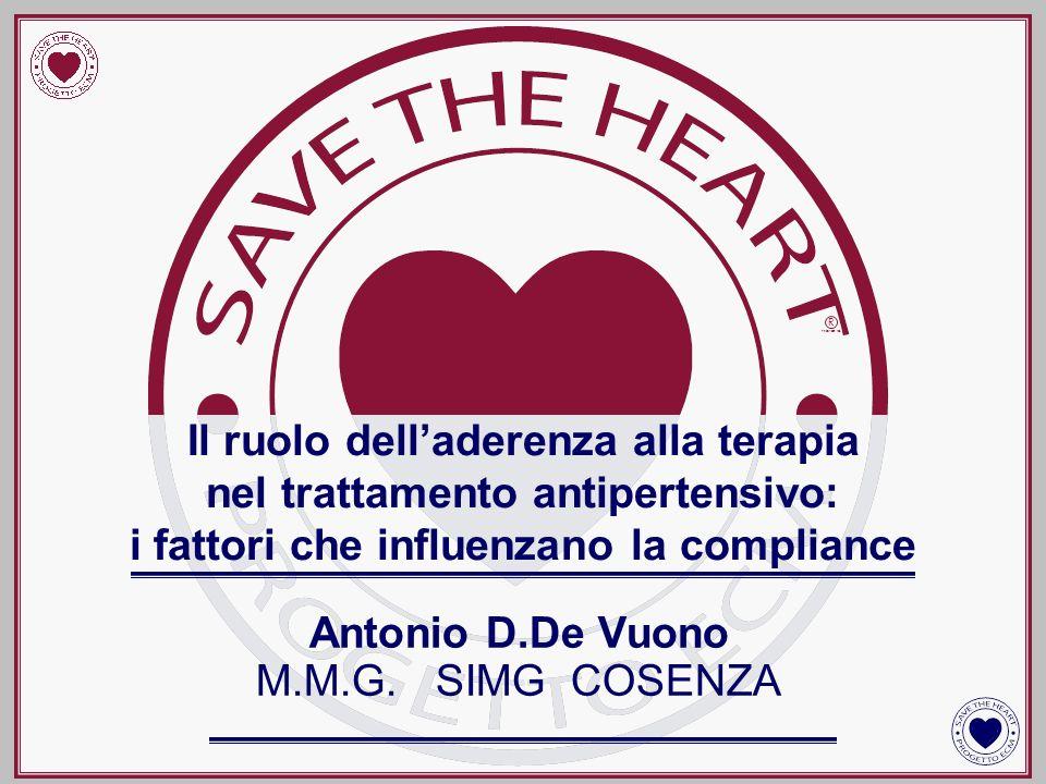 Antonio D.De Vuono M.M.G. SIMG COSENZA Il ruolo delladerenza alla terapia nel trattamento antipertensivo: i fattori che influenzano la compliance R PR