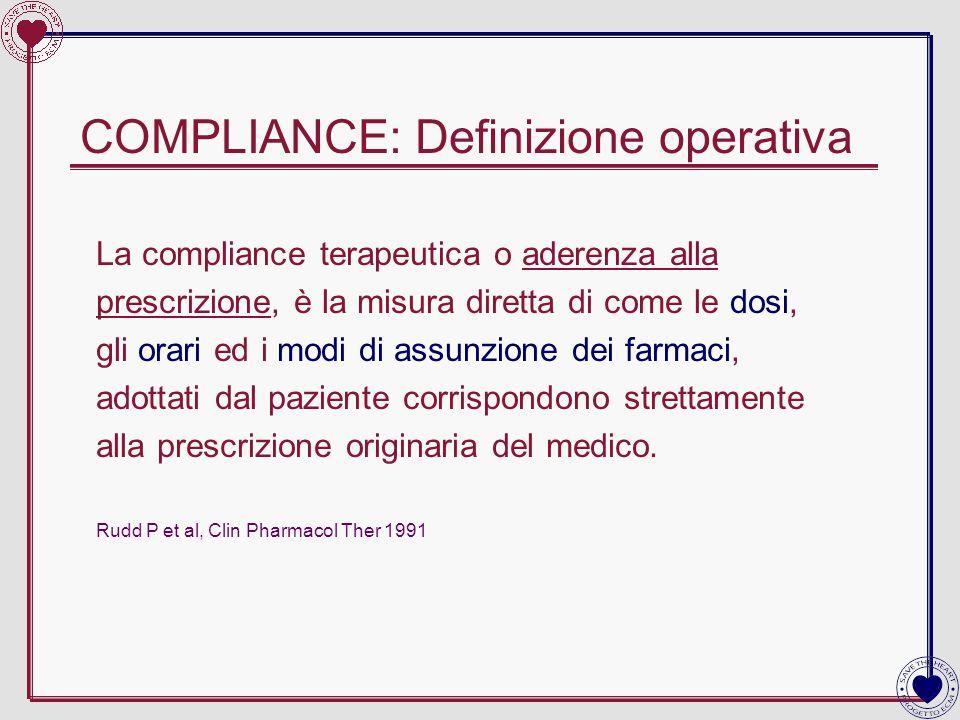 COMPLIANCE: Definizione operativa La compliance terapeutica o aderenza alla prescrizione, è la misura diretta di come le dosi, gli orari ed i modi di