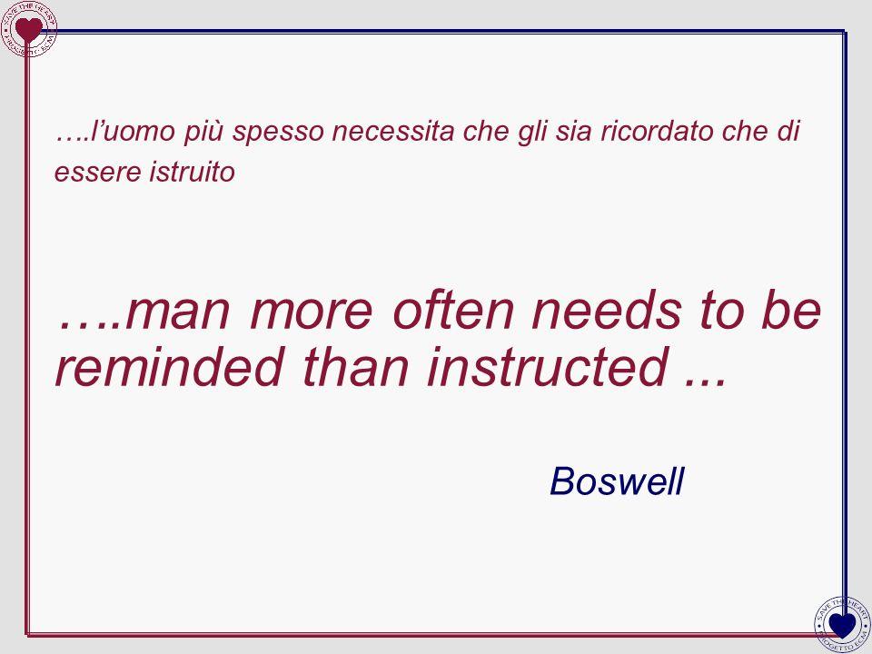 ….luomo più spesso necessita che gli sia ricordato che di essere istruito ….man more often needs to be reminded than instructed... Boswell