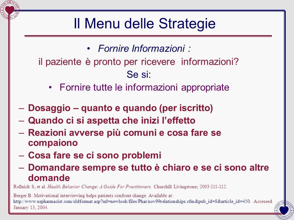 Il Menu delle Strategie Fornire Informazioni : il paziente è pronto per ricevere informazioni? Se si: Fornire tutte le informazioni appropriate –Dosag