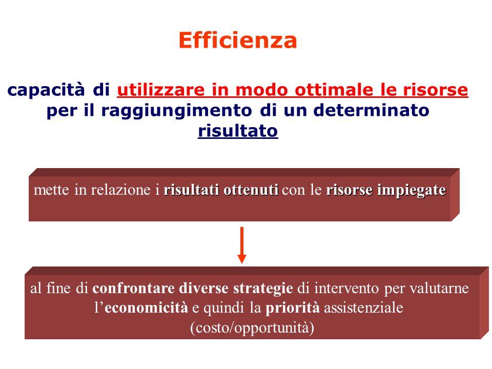 Efficienza capacità di utilizzare in modo ottimale le risorse per il raggiungimento di un determinato risultato risultati ottenuti risorse impiegate m