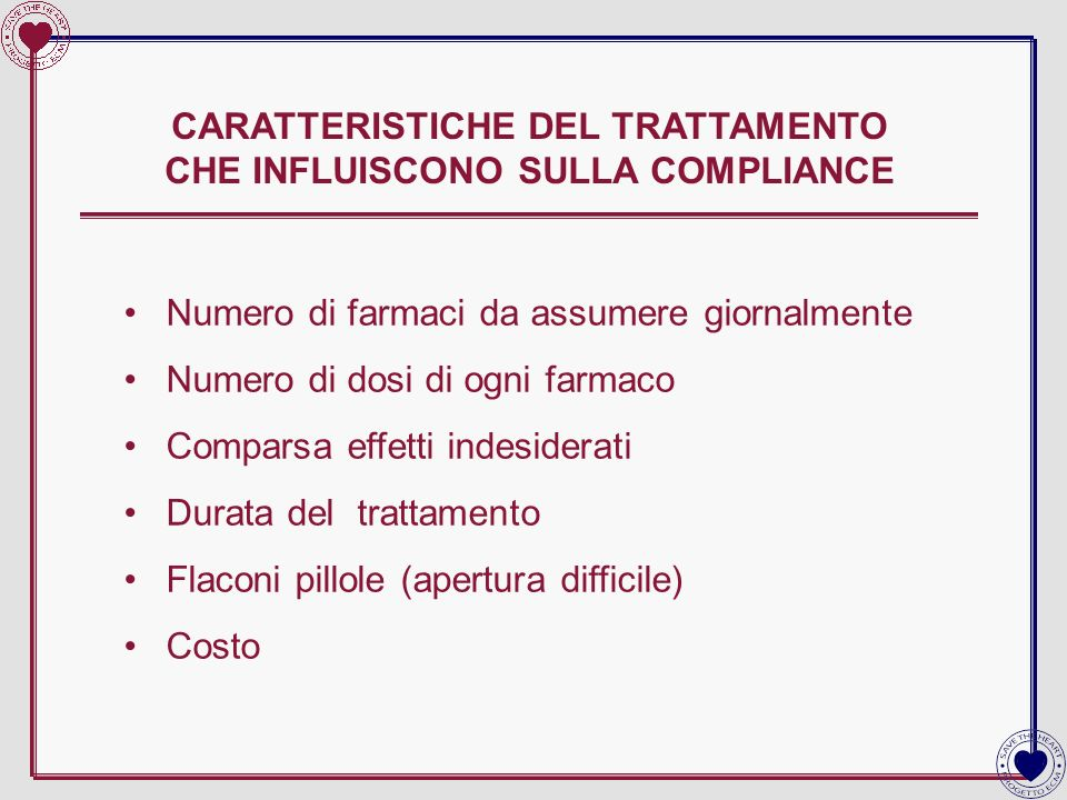 CARATTERISTICHE DEL TRATTAMENTO CHE INFLUISCONO SULLA COMPLIANCE Numero di farmaci da assumere giornalmente Numero di dosi di ogni farmaco Comparsa ef