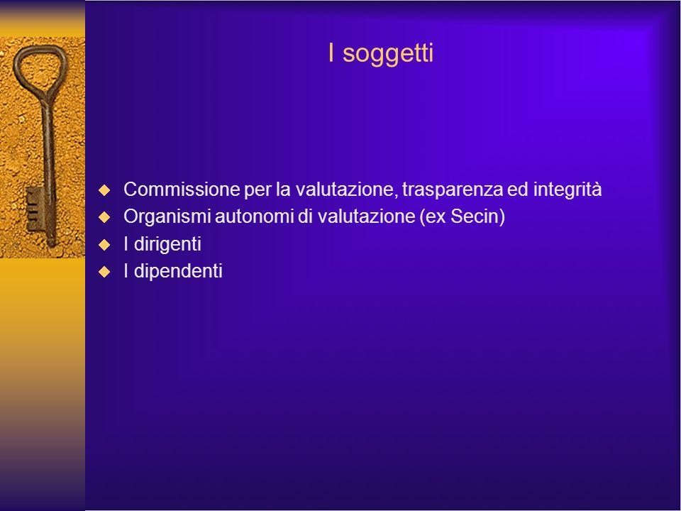 I soggetti Commissione per la valutazione, trasparenza ed integrità Organismi autonomi di valutazione (ex Secin) I dirigenti I dipendenti