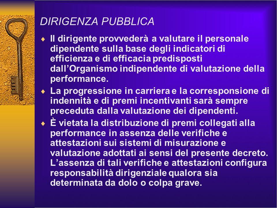 DIRIGENZA PUBBLICA Il dirigente provvederà a valutare il personale dipendente sulla base degli indicatori di efficienza e di efficacia predisposti dallOrganismo indipendente di valutazione della performance.