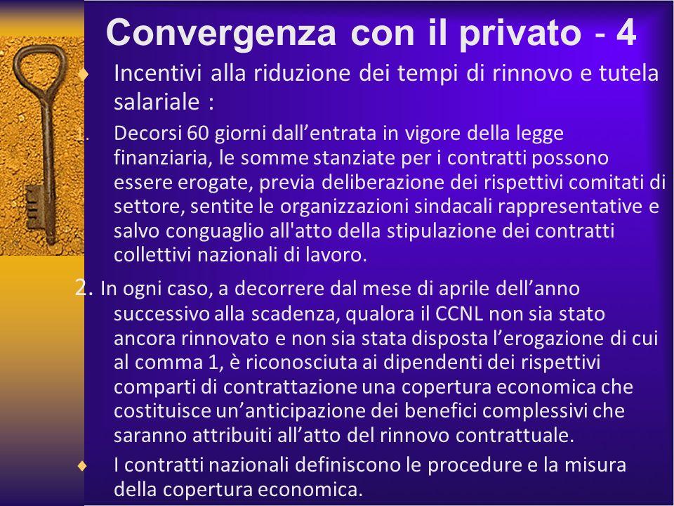 Convergenza con il privato 4 Incentivi alla riduzione dei tempi di rinnovo e tutela salariale : 1.