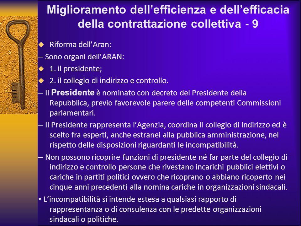 Miglioramento dellefficienza e dellefficacia della contrattazione collettiva 9 Riforma dellAran: – Sono organi dellARAN: 1.