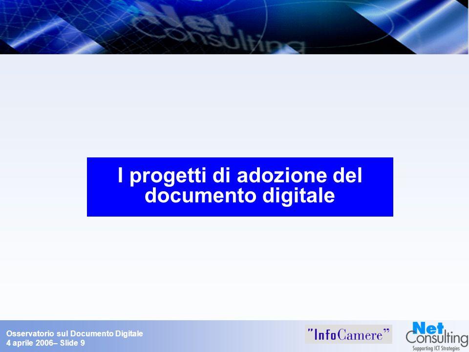Osservatorio sul Documento Digitale 4 aprile 2006– Slide 9 I progetti di adozione del documento digitale